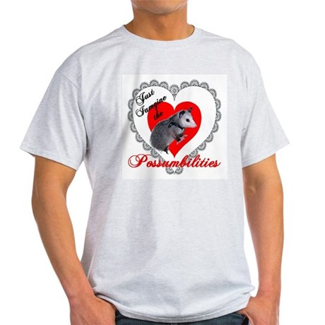 Possum Valentines Day Heart Ash Grey T-Shirt
