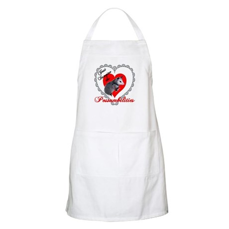 Possum Valentines Day Heart BBQ Apron