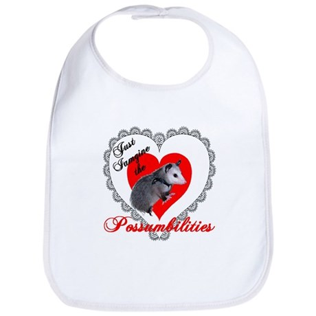 Possum Valentines Day Heart Bib