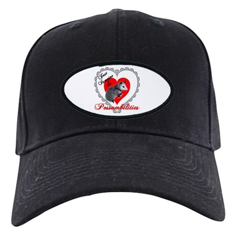 Possum Valentines Day Heart Black Cap