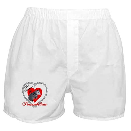 Possum Valentines Day Heart Boxer Shorts