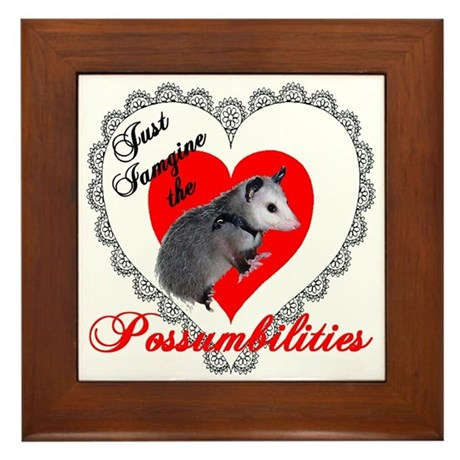 Possum Valentines Day Heart Framed Tile