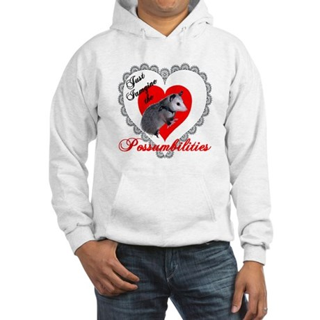 Possum Valentines Day Heart Hooded Sweatshirt