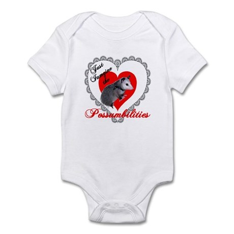 Possum Valentines Day Heart Infant Bodysuit