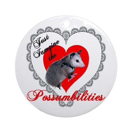 Possum Valentines Day Heart Ornament (Round)