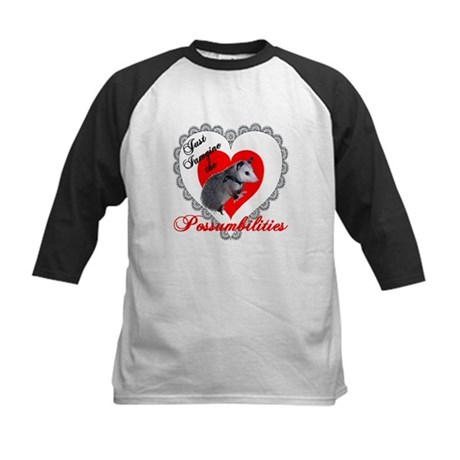 Possum Valentines Day Heart Kids Baseball Jersey