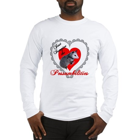 Possum Valentines Day Heart Long Sleeve T-Shirt