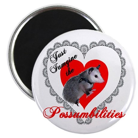 Possum Valentines Day Heart 2.25&quot; Magnet (100 pack