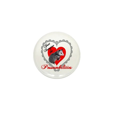 Possum Valentines Day Heart Mini Button