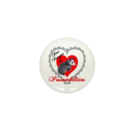 Possum Valentines Day Heart Mini Button (100 pack)