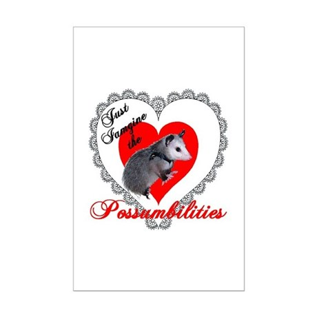 Possum Valentines Day Heart Mini Poster Print