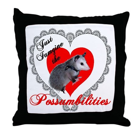 Possum Valentines Day Heart Throw Pillow