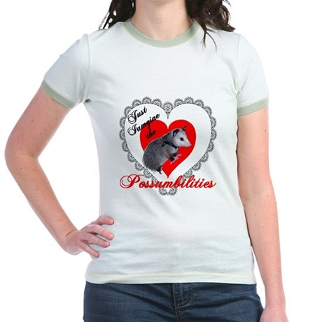 Possum Valentines Day Heart Jr. Ringer T-Shirt