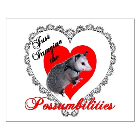 Possum Valentines Day Heart Small Poster
