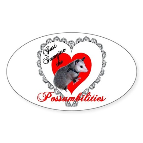 Possum Valentines Day Heart Oval Sticker