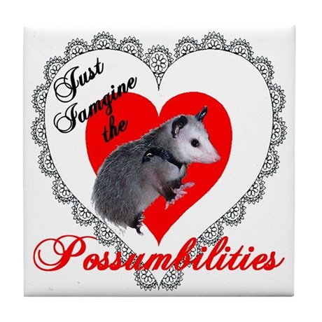 Possum Valentines Day Heart Tile Coaster