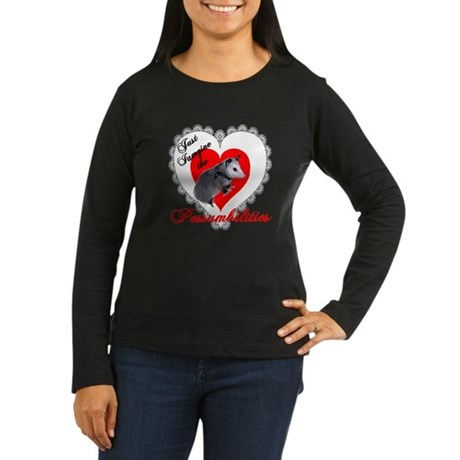 Possum Valentines Day Heart Women's Long Sleeve Da