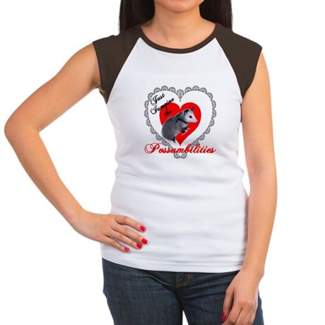 Possum Valentines Day Heart Women's Cap Sleeve T-S