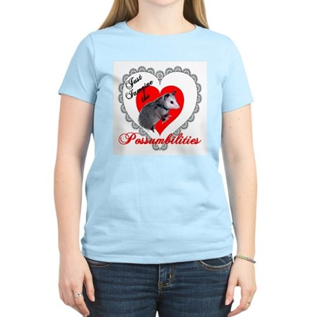 Possum Valentines Day Heart Women's Pink T-Shirt