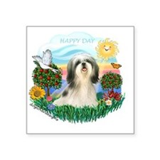 "Happy Day - Shih Tzu (#4) Square Sticker 3"" x 3"""