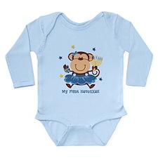 Monkey Girl 1st Hanukkah Long Sleeve Infant Bodysu