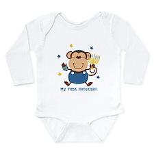 Monkey Boy 1st Hanukkah Long Sleeve Infant Bodysui
