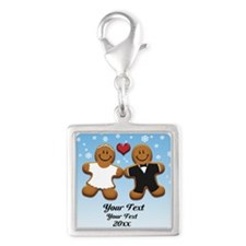 Personalize Gingerbread Bride and Groom Silver Squ