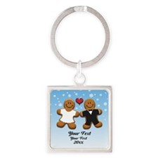 Personalize Gingerbread Bride and Groom Square Key