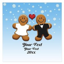 Personalize Gingerbread Bride and Groom Invitations