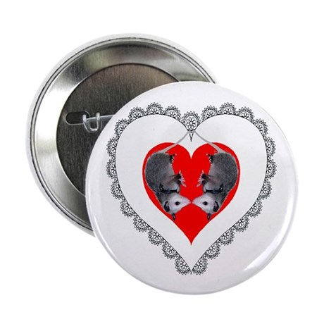 "Opossum Valentines Day Heart 2.25"" Button (10 pack"