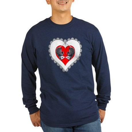 Opossum Valentines Day Heart Long Sleeve Dark T-Sh
