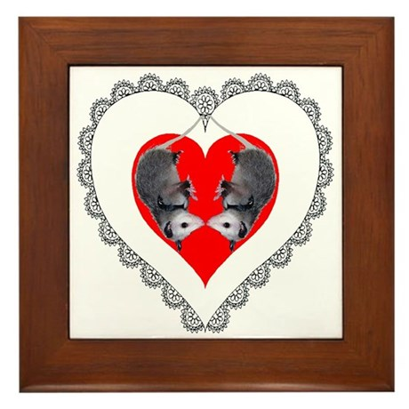 Opossum Valentines Day Heart Framed Tile