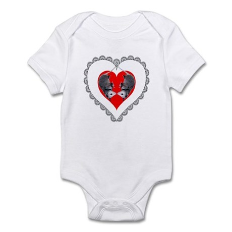 Opossum Valentines Day Heart Infant Bodysuit
