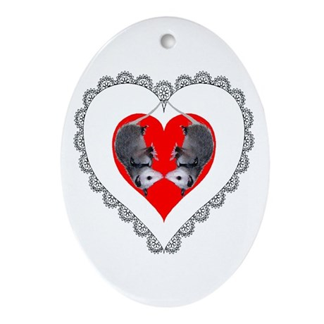 Opossum Valentines Day Heart Oval Ornament