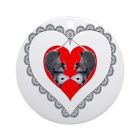 Opossum Valentines Day Heart Ornament (Round)