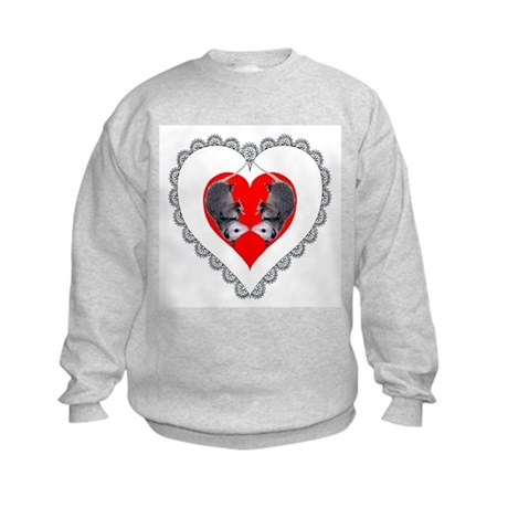 Opossum Valentines Day Heart Kids Sweatshirt