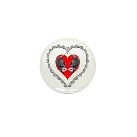 Opossum Valentines Day Heart Mini Button