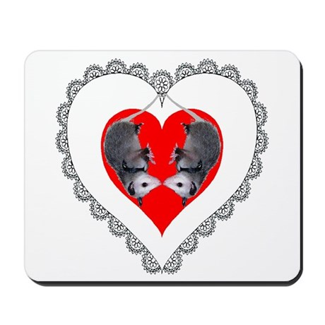 Opossum Valentines Day Heart Mousepad