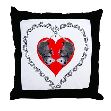 Opossum Valentines Day Heart Throw Pillow