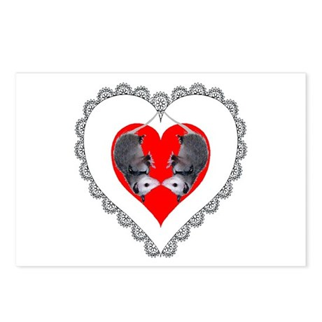 Opossum Valentines Day Heart Postcards (Package of