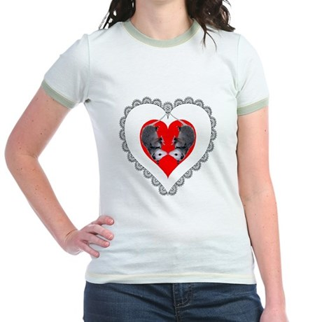Opossum Valentines Day Heart Jr. Ringer T-Shirt