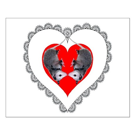 Opossum Valentines Day Heart Small Poster