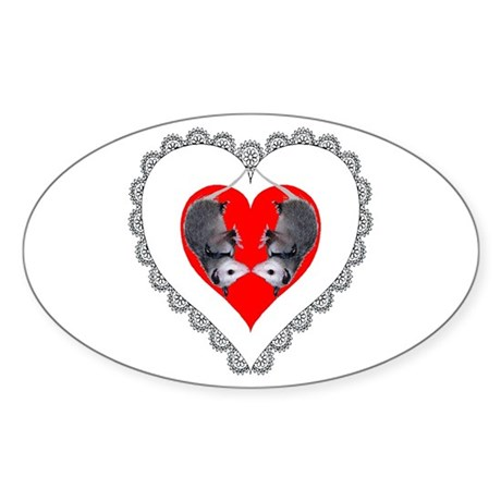 Opossum Valentines Day Heart Oval Sticker
