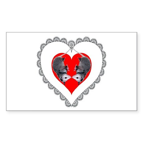 Opossum Valentines Day Heart Rectangle Sticker