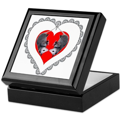 Opossum Valentines Day Heart Keepsake Box