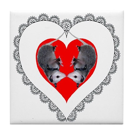 Opossum Valentines Day Heart Tile Coaster