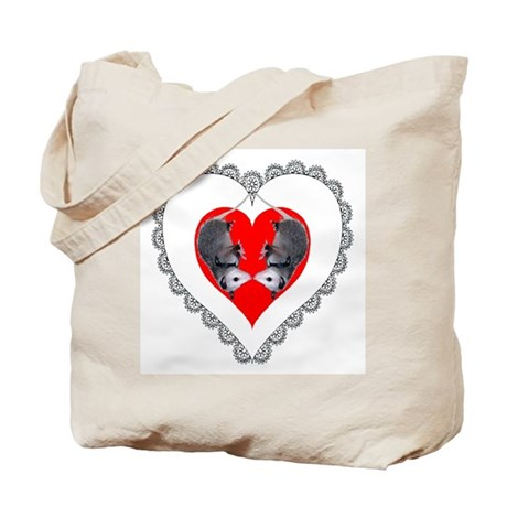 Opossum Valentines Day Heart Tote Bag