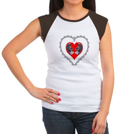 Opossum Valentines Day Heart Women's Cap Sleeve T-