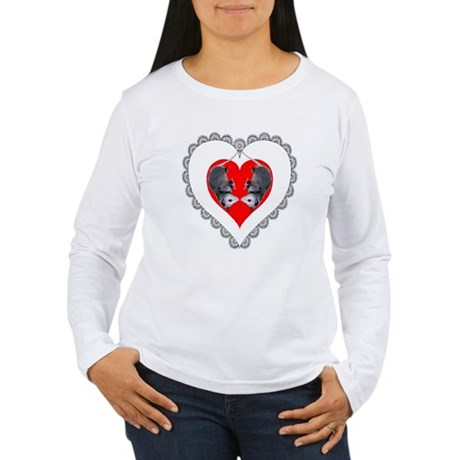 Opossum Valentines Day Heart Women's Long Sleeve T
