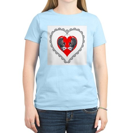 Opossum Valentines Day Heart Women's Pink T-Shirt